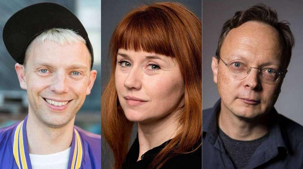 Mattias Brunn, Kajsa Isaksson och Erik Uddenberg, foto Folkteatern i Gävle